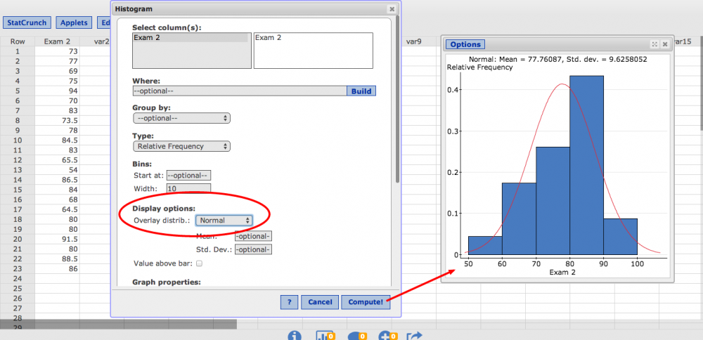 Creating histograms click compute and the resulting histogram below has a red curve overlaid reflecting the best fitting normal distribution with its mean and standard ccuart Choice Image